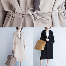 Load image into Gallery viewer, Italian Square Collar drawstring Plus Size outwear nude oversized coat fall