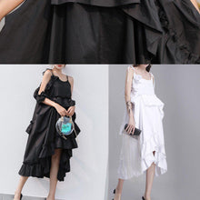 Load image into Gallery viewer, Italian black Cotton quilting dresses asymmetric tunic summer Dresses