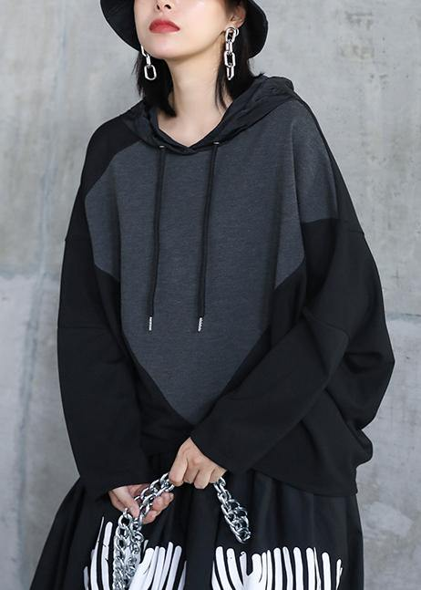 Italian black asymmetric outfit hooded patchwork Midi tops
