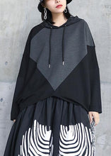Load image into Gallery viewer, Italian black asymmetric outfit hooded patchwork Midi tops