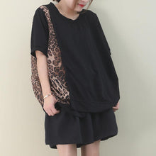 Load image into Gallery viewer, Italian black cotton clothes For Women o neck patchwork Leopard Knee blouses