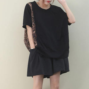 Italian black cotton clothes For Women o neck patchwork Leopard Knee blouses