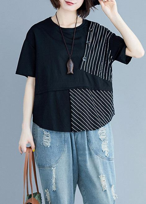 Italian black cotton clothes For Women o neck patchwork loose summer blouses
