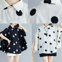 Load image into Gallery viewer, Italian black dotted chiffon tops quality Sewing lapel Art Summer shirt