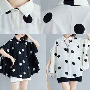 Italian black dotted chiffon tops quality Sewing lapel Art Summer shirt