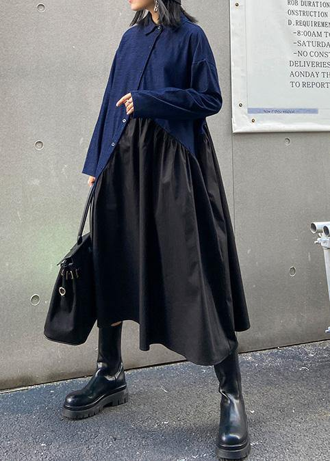 Italian black patchwork blue dress women lapel Cinched oversized dress