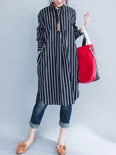 Load image into Gallery viewer, Italian black striped Cotton clothes lapel oversized shirt Dres