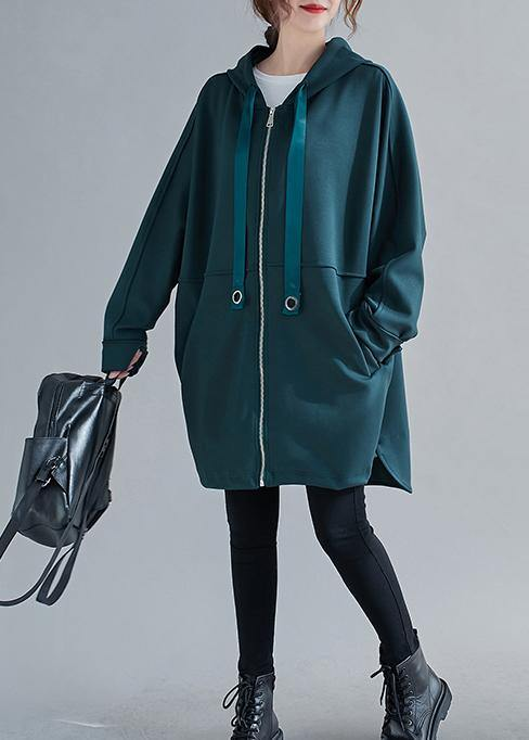 Italian blackish green Fashion Long coats Photography hooded zippered outwears