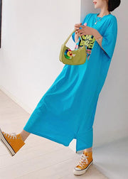 Italian blue Cartoon print tunic pattern o neck side open cotton Dress