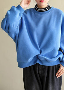 Italian blue cotton blouses for women false two pieces Knee spring Sweatshirt