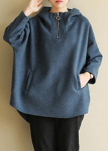 Italian blue cotton tunic pattern zippered loose hooded blouses