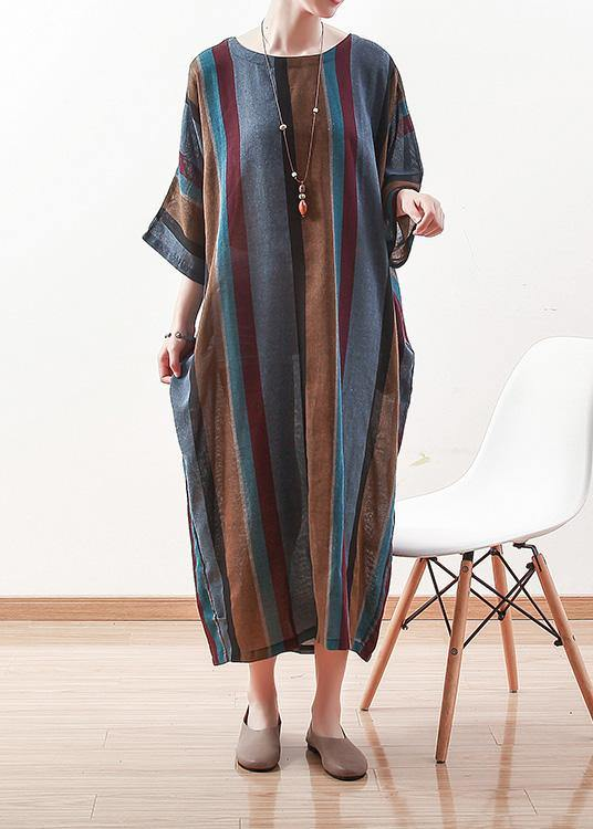 Italian blue striped linen cotton Robes o neck Batwing Sleeve Art spring Dresses