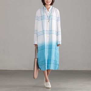 Italian cotton quilting clothes Plus Size Plaid Casual Single Breasted Loose Shirt Dress