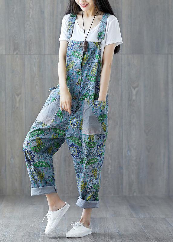 Italian cotton trousers Vintage Summer Fashion Bleached Cotton Overalls