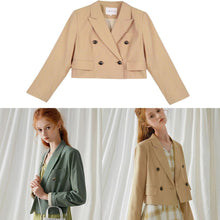 Load image into Gallery viewer, Italian double breast cotton tops Christmas Gifts khaki short coat fall