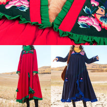 Load image into Gallery viewer, Italian embroidery cotton ruffles Tunic Runway red Robe Dresses