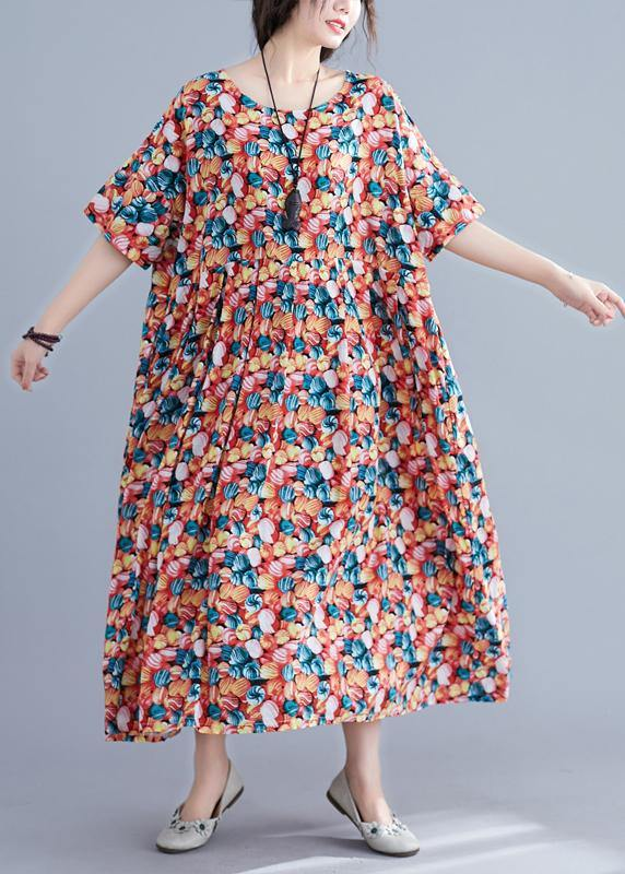 Italian floral cotton Robes o neck wrinkled Maxi summer Dress