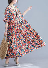 Load image into Gallery viewer, Italian floral cotton Robes o neck Cinched Maxi summer Dress