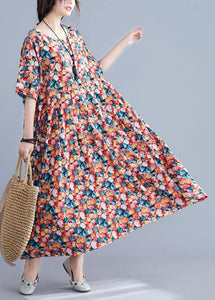 Italian floral cotton Robes o neck Cinched Maxi summer Dress