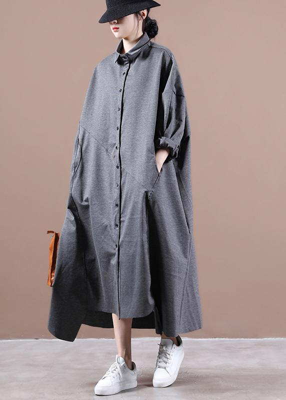 Italian gray dresses lapel asymmetric loose spring Dress