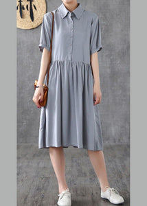 Italian gray quilting dresses lapel wrinkled Art Dresses