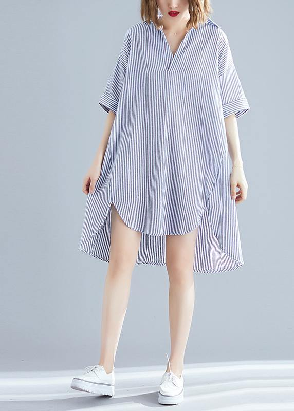 Italian gray striped linen dress Vintage Photography lapel asymmetric Midi Summer Dresses