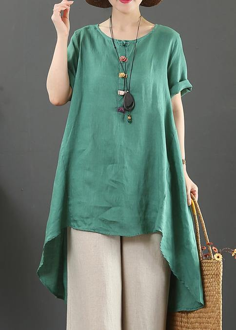 Italian green linen top o neck asymmetric baggy summer shirts
