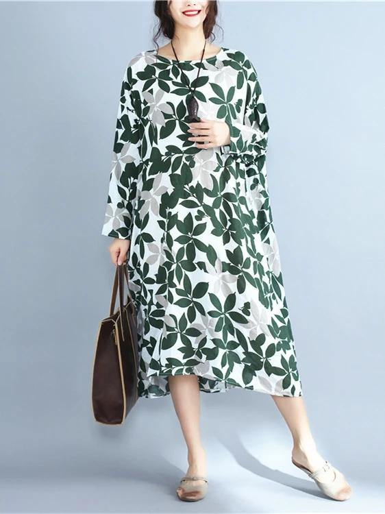 Italian green print cotton clothes For Women o neck long sleeve Maxi Dress