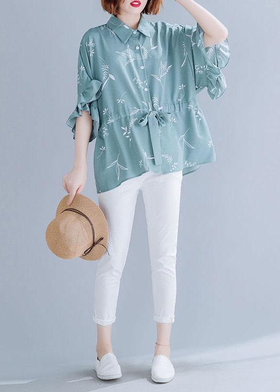 Italian green prints blended clothes For Women drawstring loose summer top