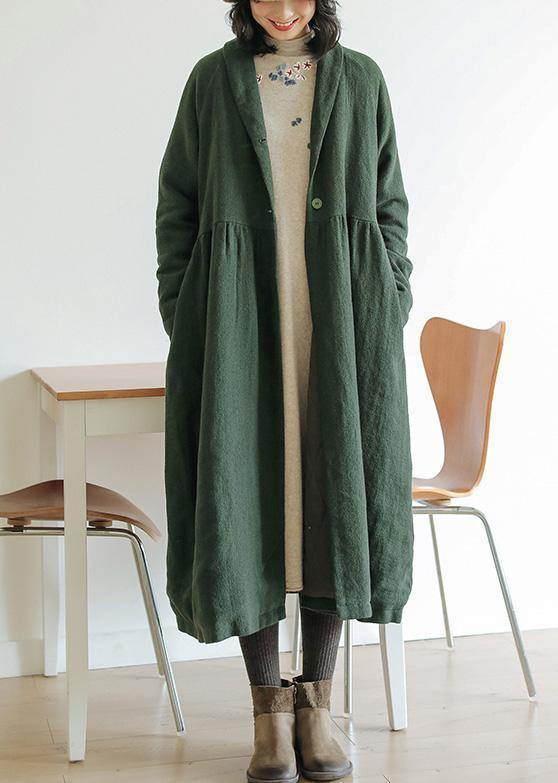 Italian green top quality outwear Tunic Tops wrinkled winter coat
