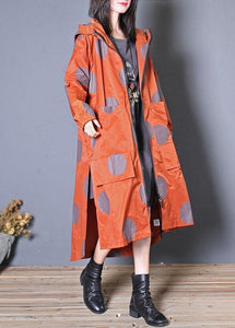 Italian hooded zippered Fine clothes red dotted Vestidos De Lino coats fall