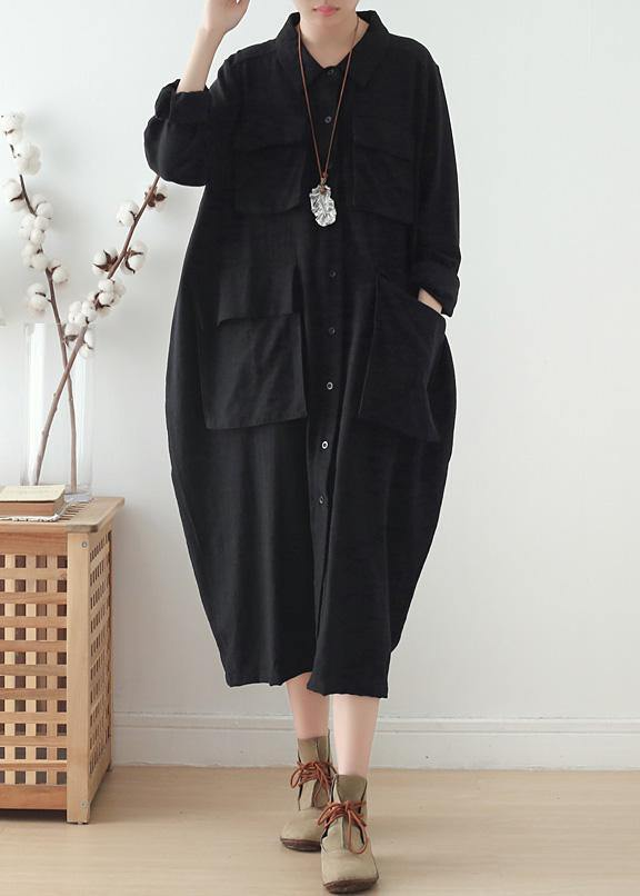 Italian lapel pockets Plus Size clothes For Women black Knee women coats fall