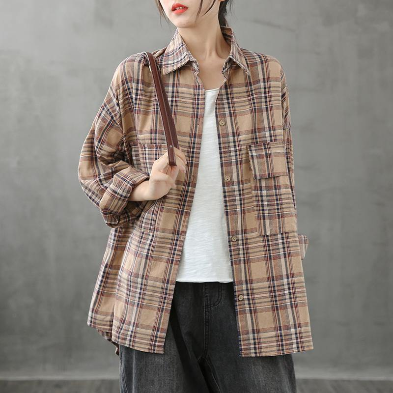 Italian lapel pockets crane tops Sewing khaki plaid blouses