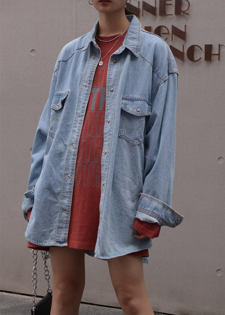 Italian light blue Fashion coats women blouses Outfits lapel Button Down coat