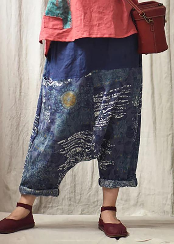 Italian linen trousers Vintage Printed Low Crotch Casual Harem Pants
