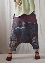 Load image into Gallery viewer, Italian linen trousers Vintage Printed Low Crotch Casual Harem Pants