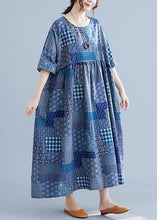 Load image into Gallery viewer, Italian navy plaid linen cotton clothes For Women o neck Cinched cotton Dress