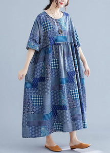 Italian navy plaid linen cotton clothes For Women o neck wrinkled cotton Dress