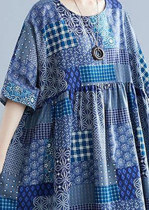Italian navy plaid linen cotton clothes For Women o neck Cinched cotton Dress