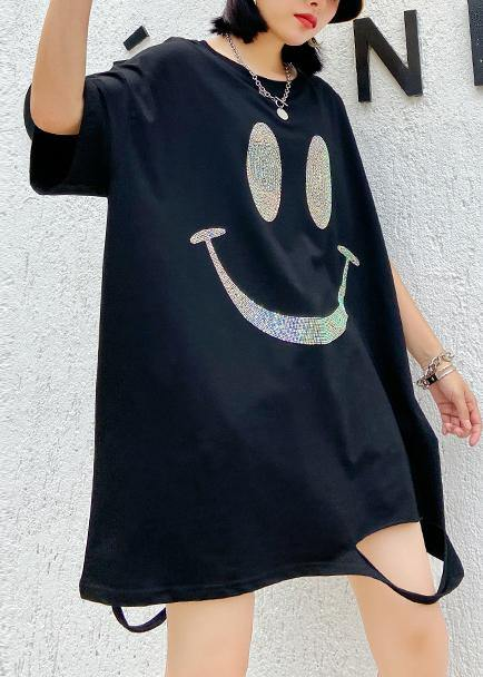 Italian o neck Hole Cotton summer quilting dresses Catwalk black Dresses