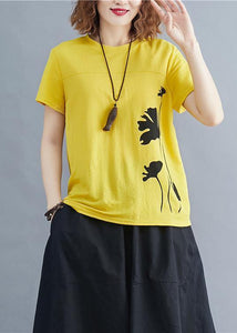Italian o neck cotton tunic top Photography yellow print shirts summer