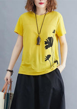 Load image into Gallery viewer, Italian o neck cotton tunic top Photography yellow print shirts summer
