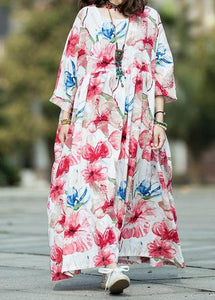 Italian o neck large hem linen cotton Long dress white print Dresses summer