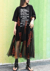 Italian o neck patchwork tulle cotton dresses Fabrics black print Traveling Dresses summer