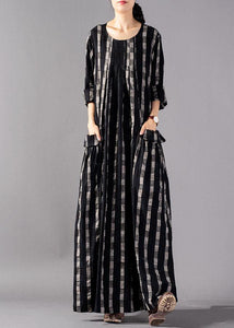 Italian o neck pockets linen clothes Runway black Plaid Dresses fall