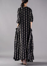 Load image into Gallery viewer, Italian o neck pockets linen clothes Runway black Plaid Dresses fall