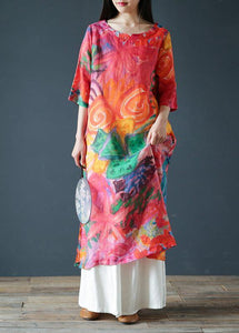Italian orange print linen clothes For Women o neck half sleeve Kaftan summer Dresses