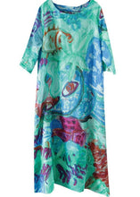 Load image into Gallery viewer, Italian orange print linen clothes For Women o neck half sleeve Kaftan summer Dresses