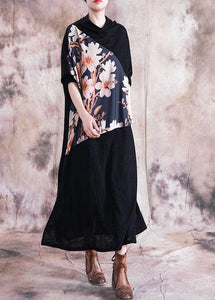 Italian patchwork prints clothes Women Work Outfits black Maxi Dress fall