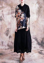 Load image into Gallery viewer, Italian patchwork prints clothes Women Work Outfits black Maxi Dress fall